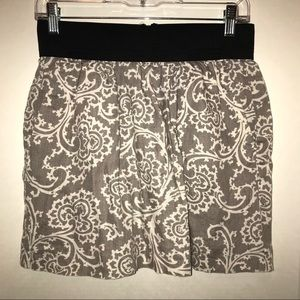 Ann Taylor Loft linen skirt, gray & white pattern
